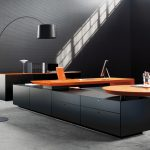deluxe-ultra-modern-office-furniture-design-cool-black-and-orange-coloring-ideas-for-great-storage-based-computer-desk-include-arch-floor-lamp-as-well-as-office-desks-for-sale-plus-contemporary-office