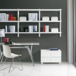 interesting-home-office-design-with-atrractive-shelves-idea-on-the-wall-also-modern-glass-office-as-well-wide-glass-window-and-white-tile-floor